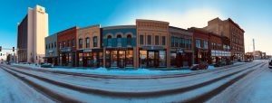 Wide-angle photograph of Main Street in Fargo, North Dakota.