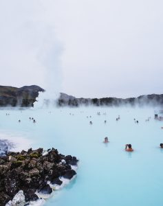 Photograph of the famed Blue Lagoon in Iceland.