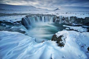 Stunning waterfall photograph of Goðafoss, Iceland.