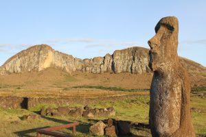 Photograph of stone statue - moai - on Easter Island.