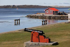 Photograph of shoreline cannon on the Falkland Islands.