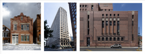 Three types of brick building styles in Chicago